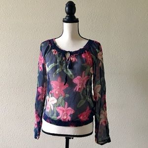 LUCKY BRAND/DALE HOPE Sheer Floral Top. Small.